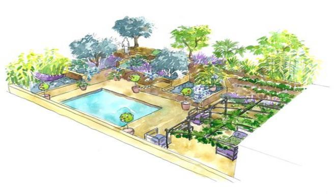 amenagement jardin exterieur mediterraneen le. Black Bedroom Furniture Sets. Home Design Ideas