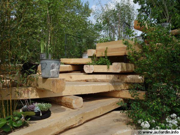 amenagement jardin rondin bois